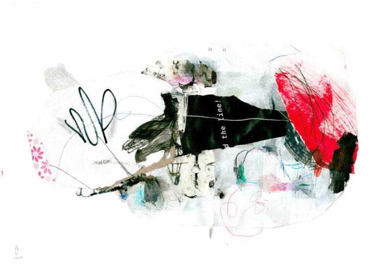 eine Collage in Schwarz- und Rottönen, die eine abstrakte Landschaft beschreiben