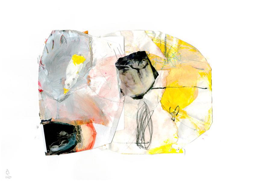 Collage in Gelb- und Orangetönen im Vordergrund kann man eine Figur mit einem geschlossenen Auge sehen