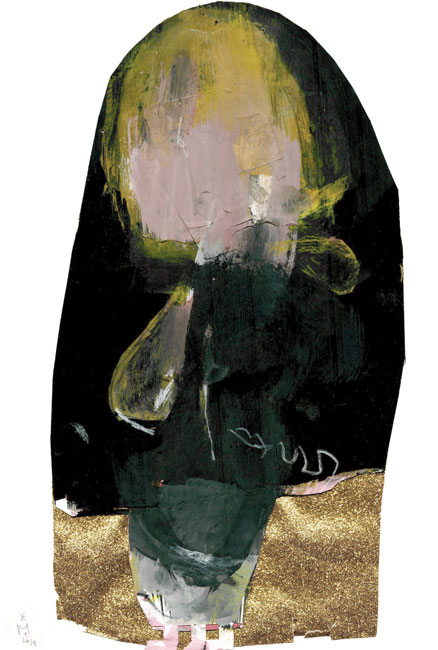 auf einem reflektierendem goldenen Boden steht vor einem schwarzen Hintergrund eine figuränglichen Form - die Zeichnung hat eine torähnliche Form wie ein Blick durch ein Schlüssenloch. Der Kopf der Figur besteht auf Ocker- und Rosatönen.