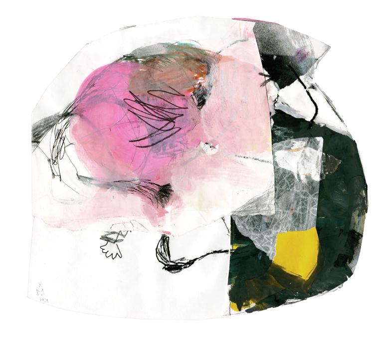 Auf der Papiervollage sieht man links ein rosafarbenes Feld von dem aus in verschiedene Richtungen schwarze Linien wegführen. Auf der rechten Seite schließt eine schwarze Fläche mit einer kleiner gelben Fläche daran an. Die verbundenen Papieren sind stellenweise mit einem schwarzen Faden verbunden.