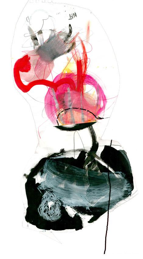 Eine figurähnliche Collage, die oberhalb einen rosafarbenen Kopf hat, auf dem rote Fühler ragen. Oberhalb des Kopfes schwegt eine graue Form. Die untere Hälfte besteht aus einer malerischen und mit grafischen weißen Strichen quaderähnliche Form. Der Mund im Kopf ist mit einem schwarzen Faden geheftet. Der