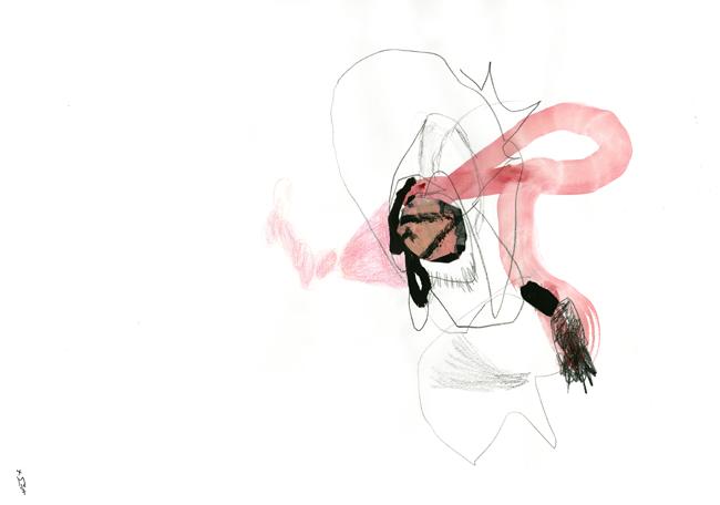 Aus einer gezeichneten Form windet sich ein gemalter roter Streifen, der in einer schwarzen gezeichneten handähnlichen Form endet.