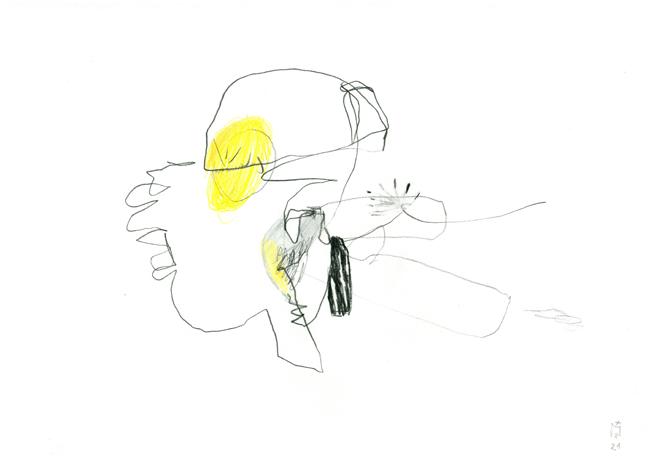Eine einbeinige Figur hat im Bereich des Kopfes einen gelben kreisrunden Fleck.